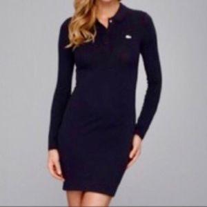 Lacoste Long Sleeve Black Pique Knit Polo Dress